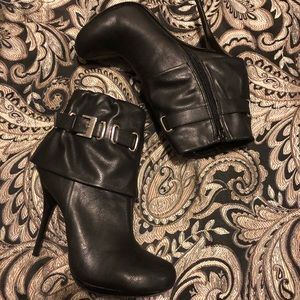 NIB black heeled bootie with silver buckle